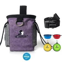 600d thicken oxford dog training bag toy treat waist bag snacks garbage pet bag and one foldable bowl set pet supplies purple
