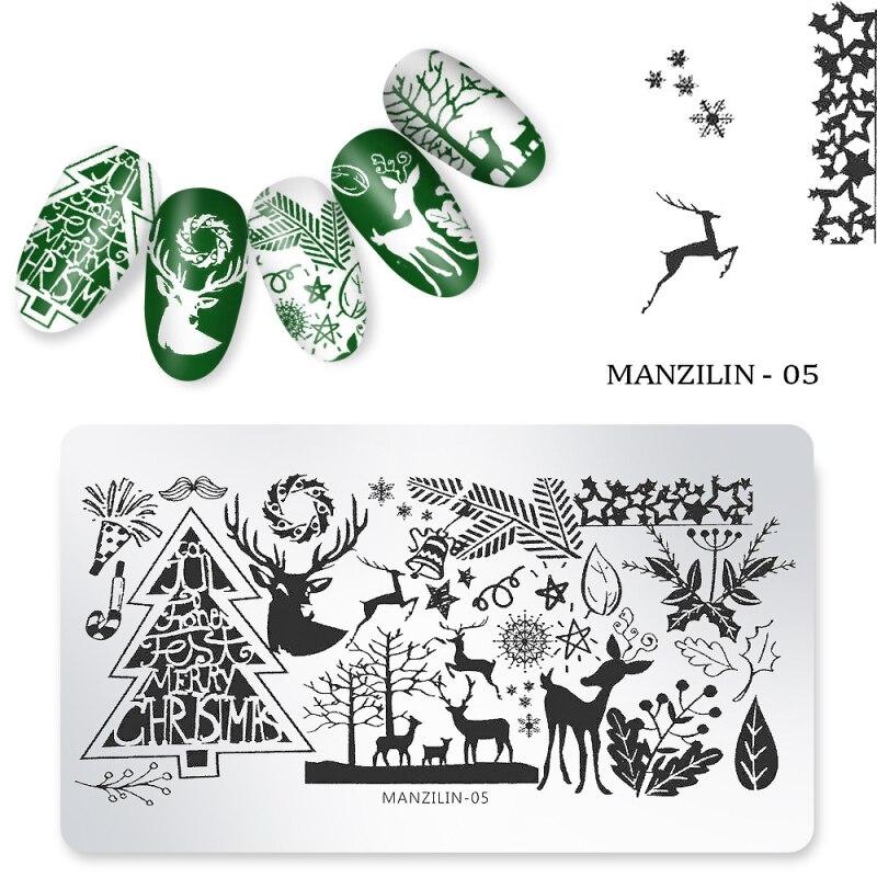 Plantilla de impresión artística con clavos, estampado de moda navideña, placa de acero, estampado de uñas de animales, láminas con imágenes, herramientas de plantilla de impresión de sellos
