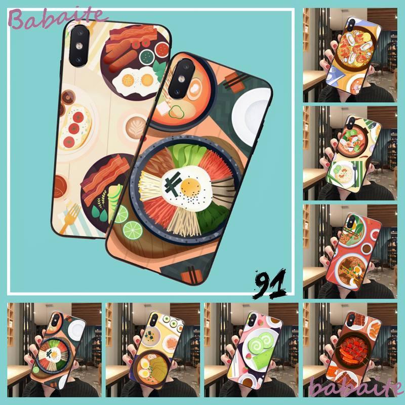 Cartoon koreanische japanischen sushi nudel pizza Telefon Fall Für iPhone 8 7 6 6S Plus 5 5S SE 2020 11 11pro max XR X XS MAX