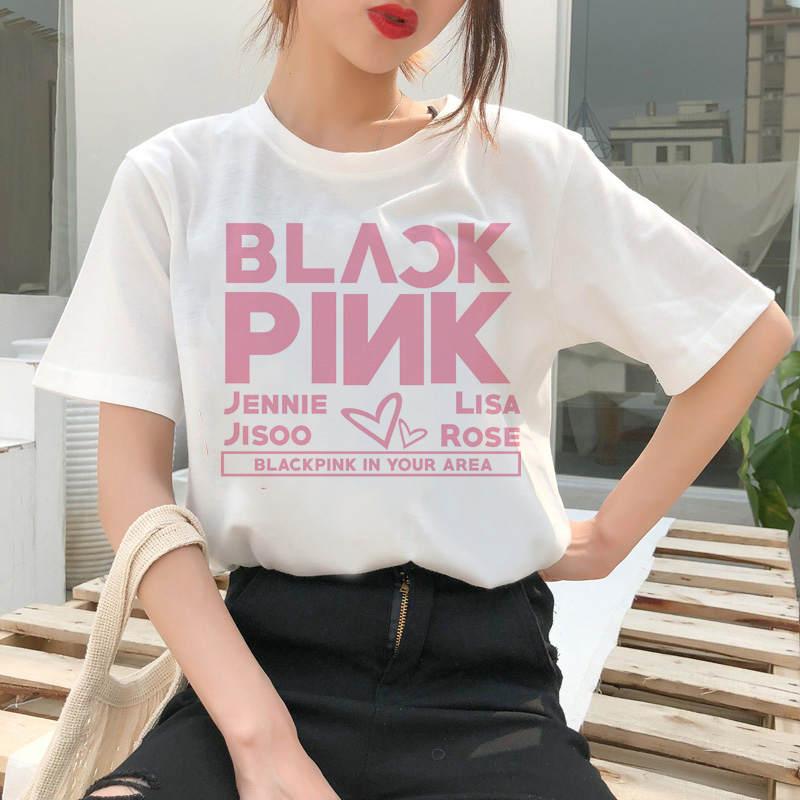 Pantalón corto casual de verano para mujer, camiseta Harajuku de los años 90 con estampado de dibujos animados de color rosa negro Kill This Love, camiseta a la moda para mujer