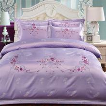 Svetanya violet Satin coton Jacquard ensemble de literie reine roi literie drap de lit housse de couette oreiller imposture