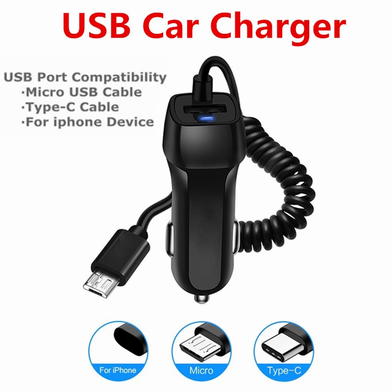 Universal Car Charger With USB Cable Mobile Phone Charger For iphone for Samsung Micro USB Type C Ca