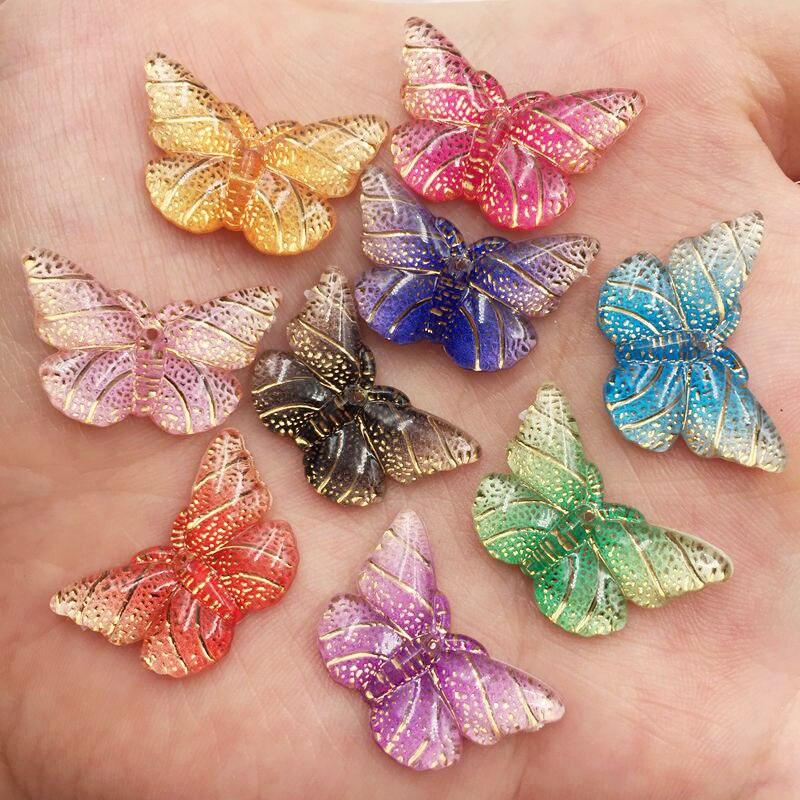 Nuevo Diamante de imitación 20 piezas de resina brillante mezcla colorida mariposa Flatback 1 Agujero ornamentos DIY apliques de manualidades de boda SF751