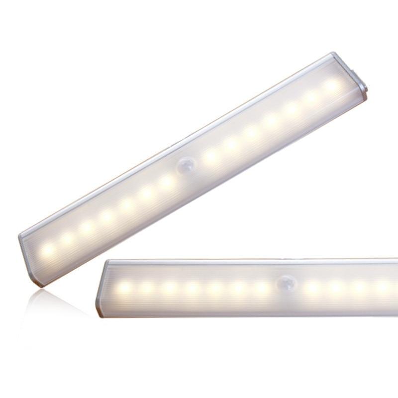 1W 5V LED gabinete PIR Detector de movimiento Sensor armario lámpara de luz nocturna 14LEDs inducción armario paso luces barra iluminación