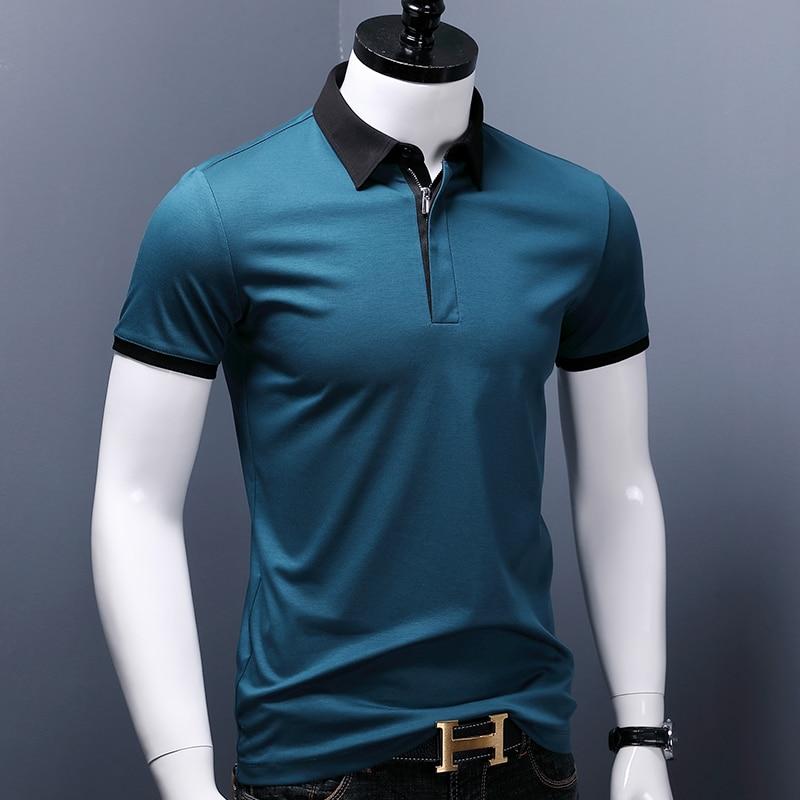 الرجال بولو الذكية عادية الرجال قميص بولو بكم قصير قميص التباين قميص بولو ملون الصيف جديد القطن الملابس حجم كبير الرجال بلايز