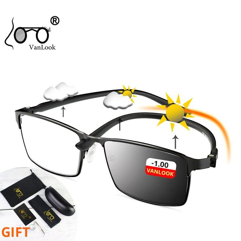 Photochromic Myopia Blue Light Blocking Glasses Computer Men's Diopter Chameleon Sunglasses Gamer Ey