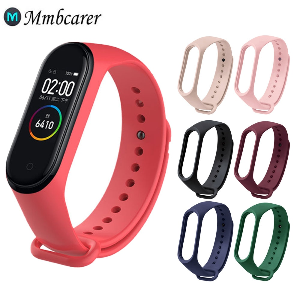 M3 M4 M5 M6 Strap Bracelet For Xiaomi Mi Band 6 5 4 3 Silicone Black Wrist Strap For MiBand 6 5 3 4 Smart Watch Wristbands
