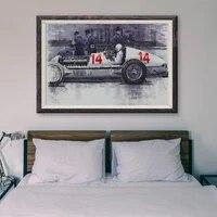 Peinture classique de voiture de course retro T037  103  affiche en soie personnalisee  decoration murale  cadeau de noel
