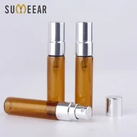 100pcslot trial pack 5ml spray bottle amber refillable parfum bottle silver spray bottle atomizer brown cosmetic container case