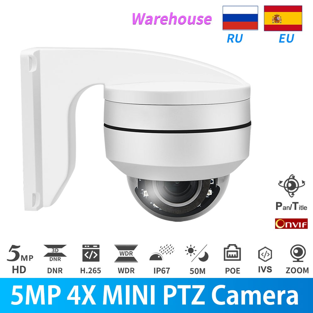 AliExpress - Hikvision Compatible PTZ IP Camera 5MP Dome PoE IR 4X-16X Auto Zoom Outdoor Security IP67 Motion Detection Cam With Bracket