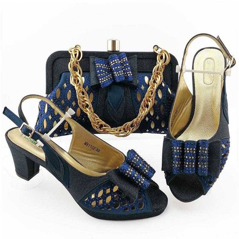 Popular azul oscuro sandalias y bolso zapatos africanos con Juego de bolsas para fiesta MM1102 altura de tacón 7CM