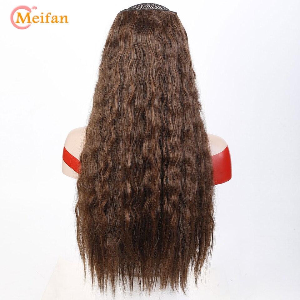 MEIFAN – postiche de maïs bouclée ondulée naturelle, 60cm de Long, postiche synthétique résistante à la chaleur, Extension capillaire à Clip