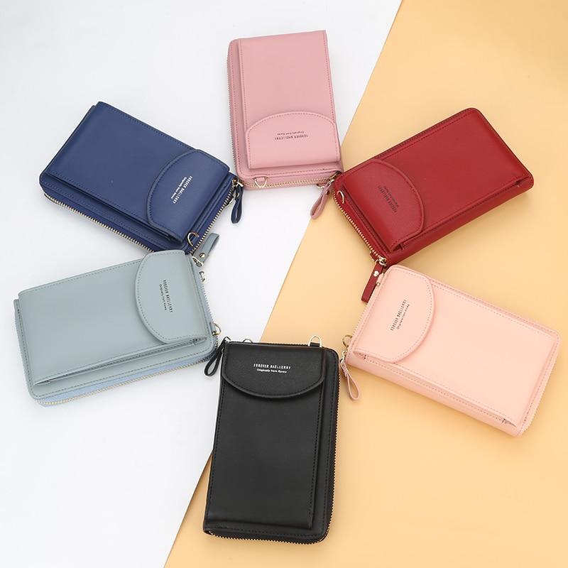 Baellerry Solid Color Small Shoulder Bag Multi-Function Letter Phone Money Women Wallets Pocket Bags