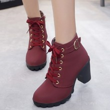 hot6 Plus Size Ankle Boots Women Platform High Heels Women's Boots Buckle Shoes Thick Heel Short Boo