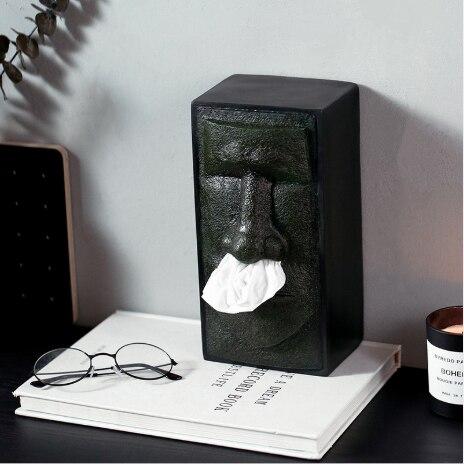Caja de almacenamiento de pañuelos creativo soporte para caja de pañuelos faciales dispensador de cubierta cara Isla de Pascua Retro caja de Organización del hogar # C