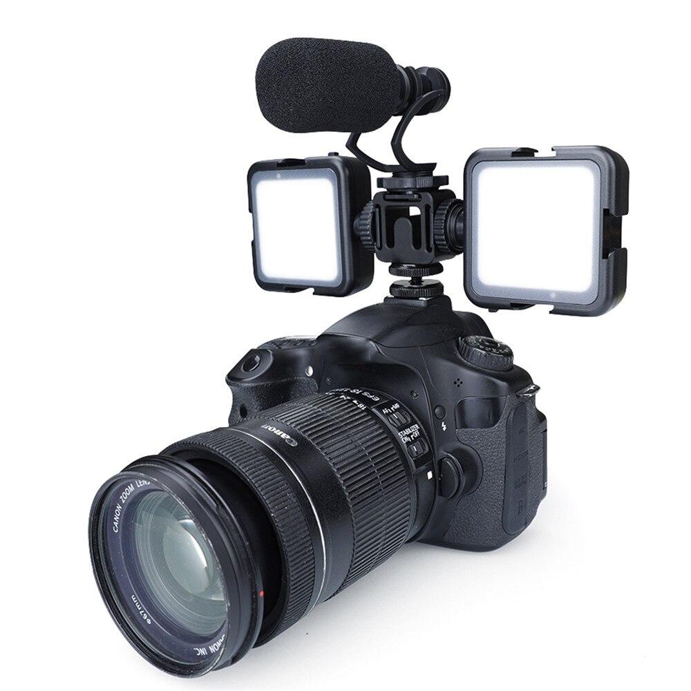 Três-cabeça câmera sapata quente suporte de montagem para canon/nikon/sony dslr slr microfone monitor de luz adaptador de portas de expansão