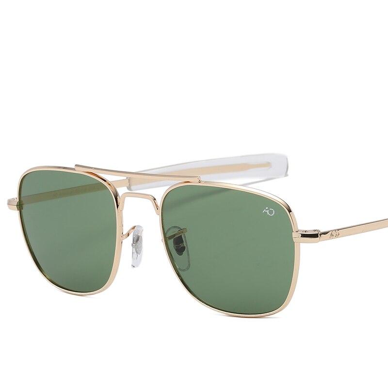 Gafas de sol a la moda de aviación AO para hombre, gafas de sol de diseñador de marca de lujo para hombre, lentes de vidrio óptico militar del ejército americano