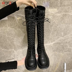 WOHDHE Women Knee Boots Platform Cross-tied PU Leather Thick Bottom Boots Long Motorcycle Autumn Shoes Female Black