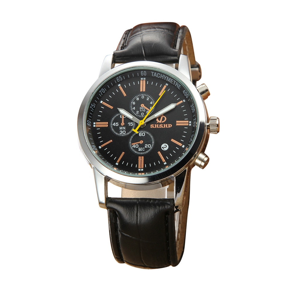 Relojes de moda para hombre tres ojos seis pines reloj de cuarzo analógico correa de cuero reloj para homre שן גloreloj caballero horloge hombre # L0