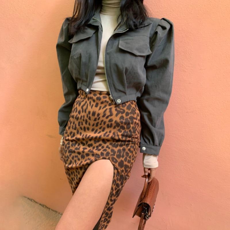Women's Slim High Waist Slim Skirt with Hips Fashion Casual Elegant Leopard Print Knee Skirt Women Summer Street Wear Mini Skirt