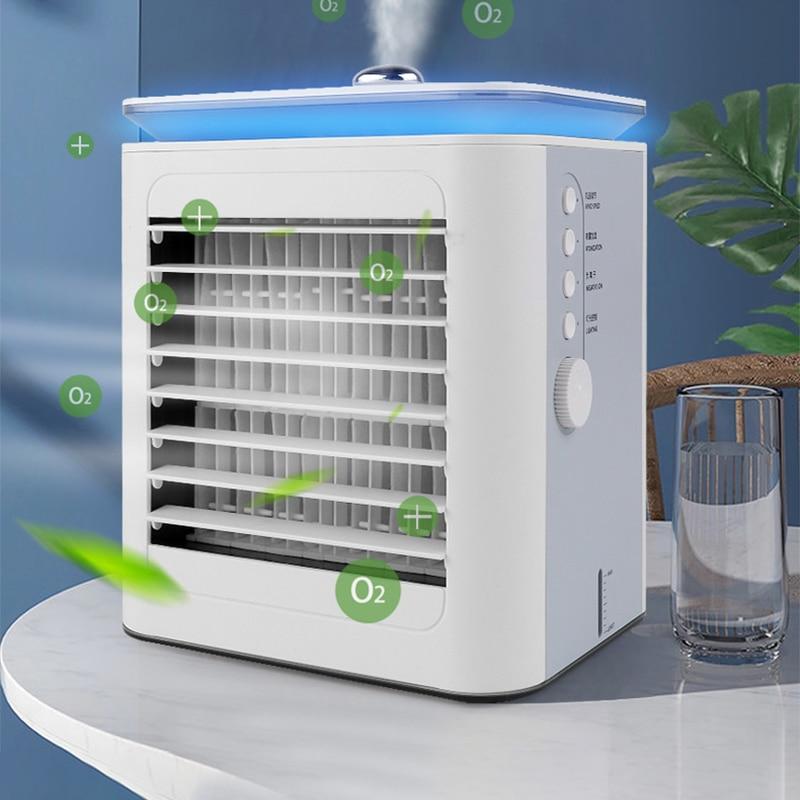 مبرد الهواء الصغير الأيونات السالبة لتنقية الهواء رذاذ المرطب المنزلية المحمولة المحمولة المياه المبردة مكيف الهواء مروحة كهربائية