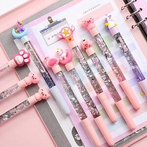 6pcs/lot Cartoon  Gel Pen Cute pen kids kawaii stationery drift sand glitter crystal bright colorful pink children girl gift