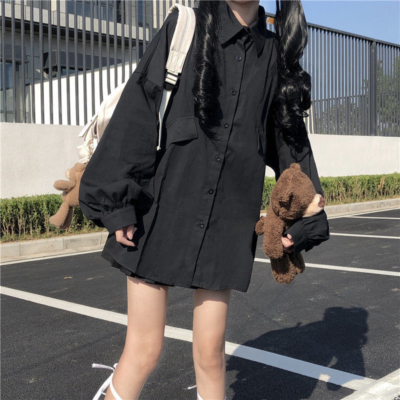 HOUZHOU White Black Shirt Kawaii Harajuku Long Lantern Sleeves Oversize Korean Style Button Up Blouses Women Casual Dropshipping