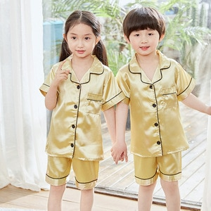 HOT SALE Baby boy clothes Summer Silk Kids Clothes Girls Short Sleeve Satin Pajamas  Kids Solid pajama sets