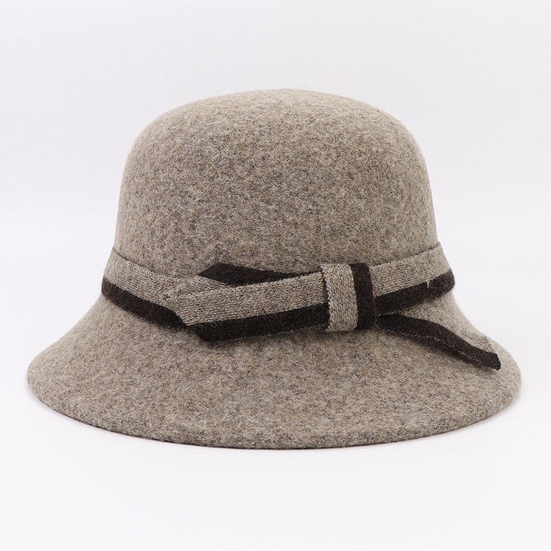 Autumn and Winter Full Wool Ladies Warm Belt Basin Hat Outdoor Leisure Travel Mother-in-law Aunt Pure Color Hat Fashion Elegant