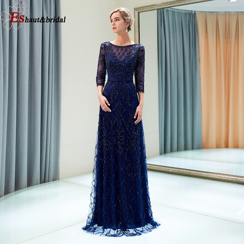 فستان سهرة طويل مطرز يدويًا ، فستان فاخر بأكمام ثلاثة أرباع ، رقبة مستديرة ، للنساء ، 2020