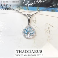 charm necklace blue tree2020 autumn brand bohemia fashion jewelry europe 925 sterling silver symbol of life gift for women