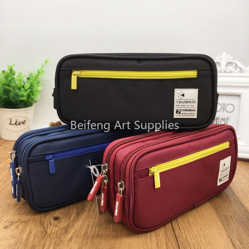 Colorful Large Capacity Pencil Cases Bags Creative Korea Fabric Pen Box Pouch Case School Office Stationary Supplies