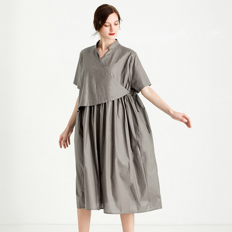 Loose Casual Fashion Summer Dress For Women 2021 Elegant Lady Black Oversized Beach Party Solid Dresses Clothing