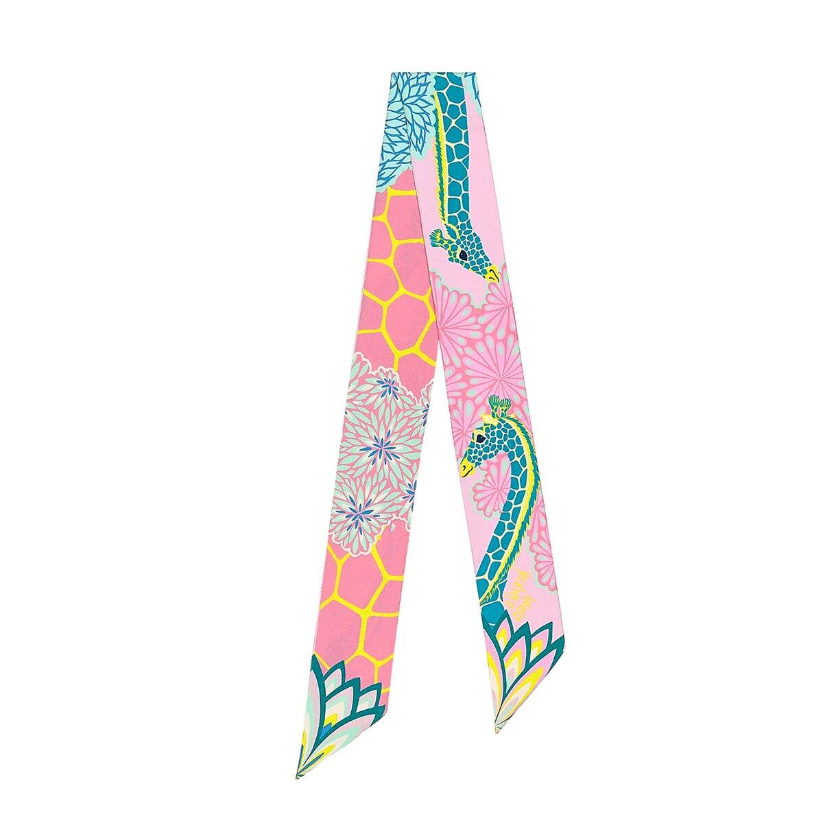 Marca lenço de seda lenço de sarja de luxo cachecóis mulheres novo design hijab neckerchief primavera verão girafa lenço de cabelo moda headbands