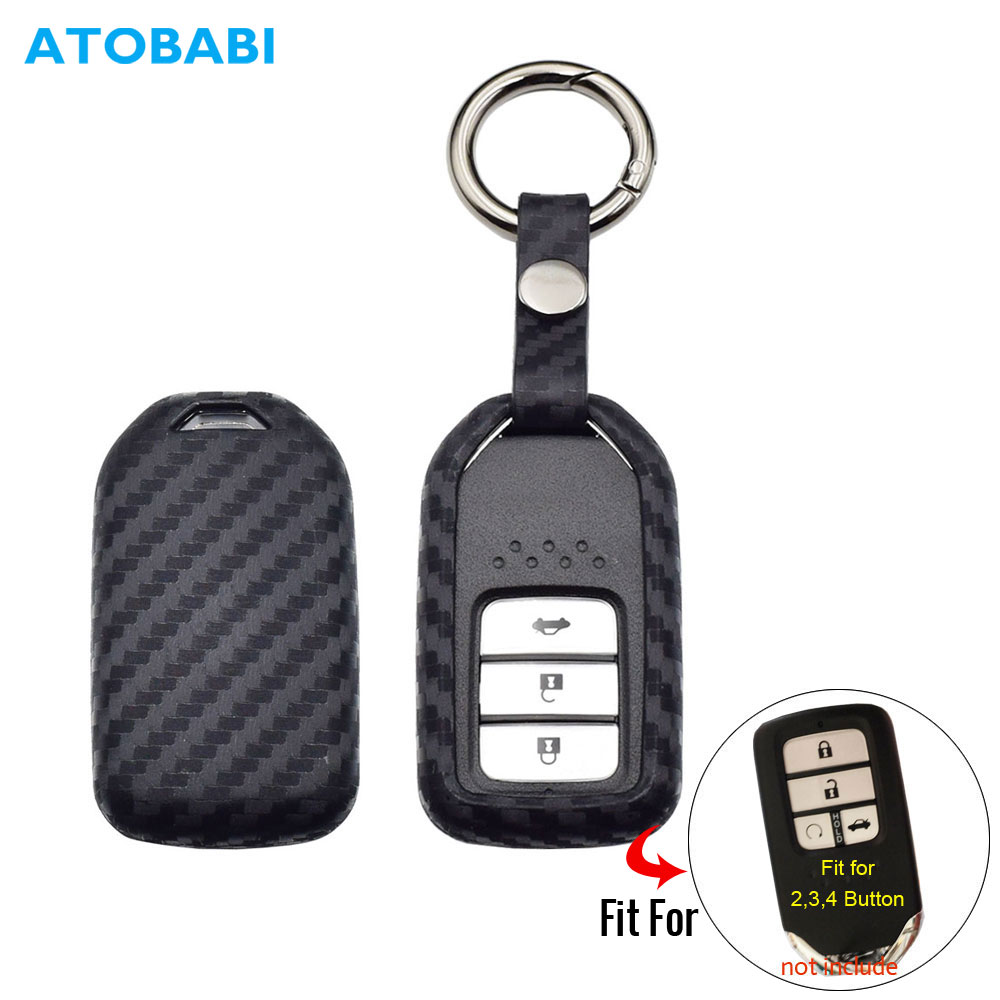 Carbono funda de silicona para la llave del coche para Honda Accord cívica CR-V CR-Z HR-V piloto inteligente cubierta de mando a distancia de la bolsa llavero Protector de bolsa