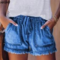 women high waist lace up short jeans summer fashion sexy ripped denim shorts casual elastic waist vintage thin shorts streetwear