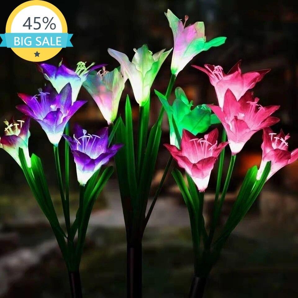 Уличные светодиодные фонари на солнечной батарее, водонепроницаемые многоцветные уличные лампы для сада, патио, двора, украшения дорожек