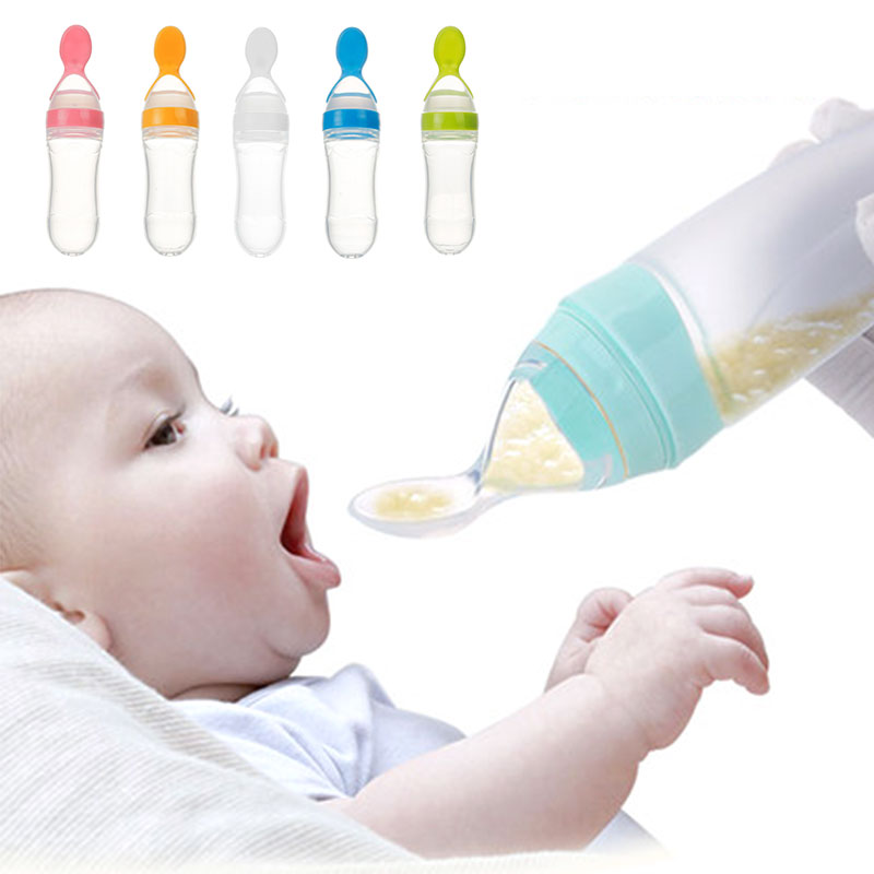 90ML Safe Newborn Baby Feeding Bottle Toddler Silicone Squeeze Feeding Spoon Milk Bottle Baby Training Feeder Food Supplement