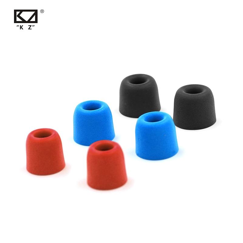 KZ Original 3 paires (6 pièces) écouteurs en mousse à mémoire de forme confortables écouteurs pour écouteurs rouge bleu