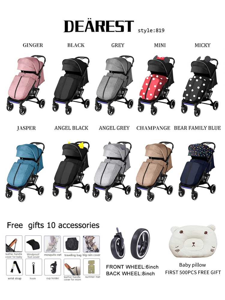 Deareat 819 New 2021Baby Dtroller More Comfortable And Safer One-key Stroller enlarge