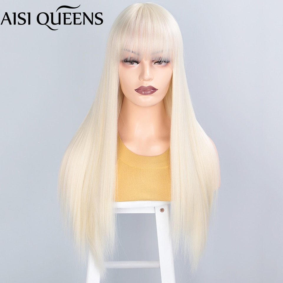 aisi queens long straight 613 perucas sinteticas loiras com franja para mulheres