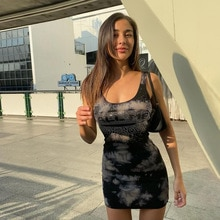 DISEYAR DISEYAR Square Neck Sleeveless Bodycon Mini Dress Basic Women Summer Black Party Sexy Clubwe