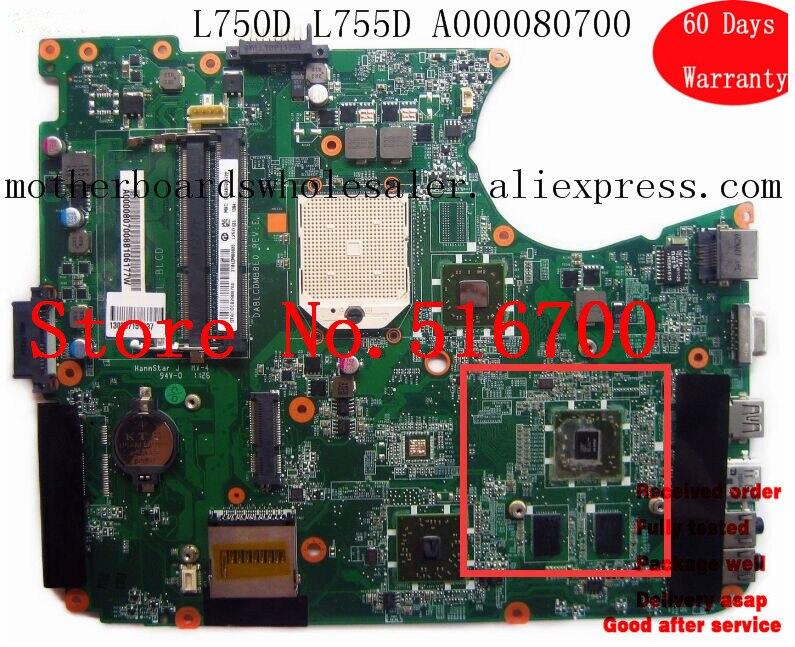 Placa base de ordenador portátil A000080700 para Toshiba Satellite L750 L755 a000080700 dablcdmb 8e0 placa base de sistema probado