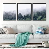 foggy forest prints forest wall art tree posters nature landscape canvas painting scandinavian wall picture living room decor