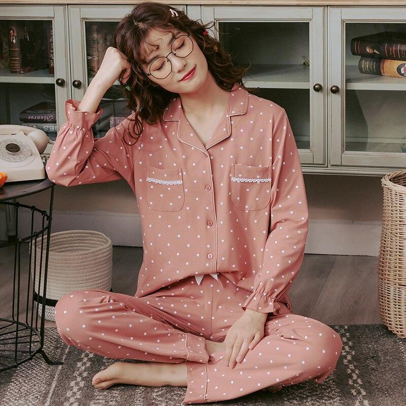Polka Dot Cardigan Pajama Set For Female Fashion Full Cotton Home Sleepwear Plus Size Pajamas Set Women Pijamas Mujer