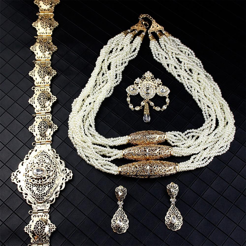 Sunspicems الذهب اللون المغربي مجوهرات الزفاف مجموعات للنساء عقد من اللؤلؤ بروش قطرة القرط حزام من المعدن القفطان بيجو هدية