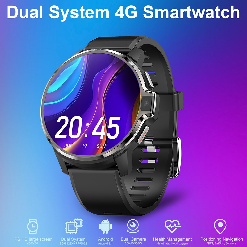 New 4G Smartwatch DM30 RAM 1/4GB ROM 16/64GB Smart Watch Android 9.1 GPS Wifi Dual System Face ID 1050Mah Battery 1.6 Inch HD