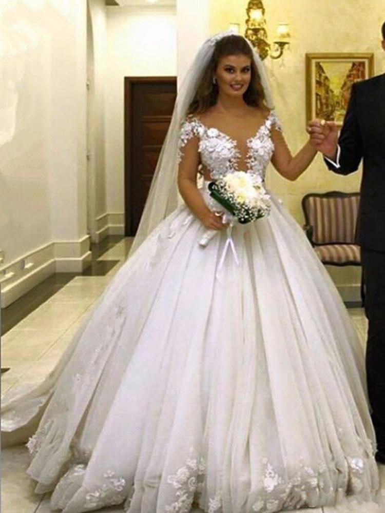 Недорогие свадебные бальные платья принцессы, винтажные кружевные свадебные платья с рисунком под звено, свадебные платья со шлейфом
