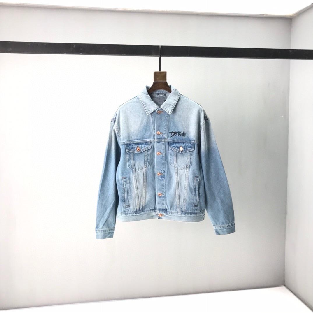 2021 Paris Spring and summer Fashion Hip Hop Denim Jacket Male Cowboy Ripped Hole European Size S~XL 67