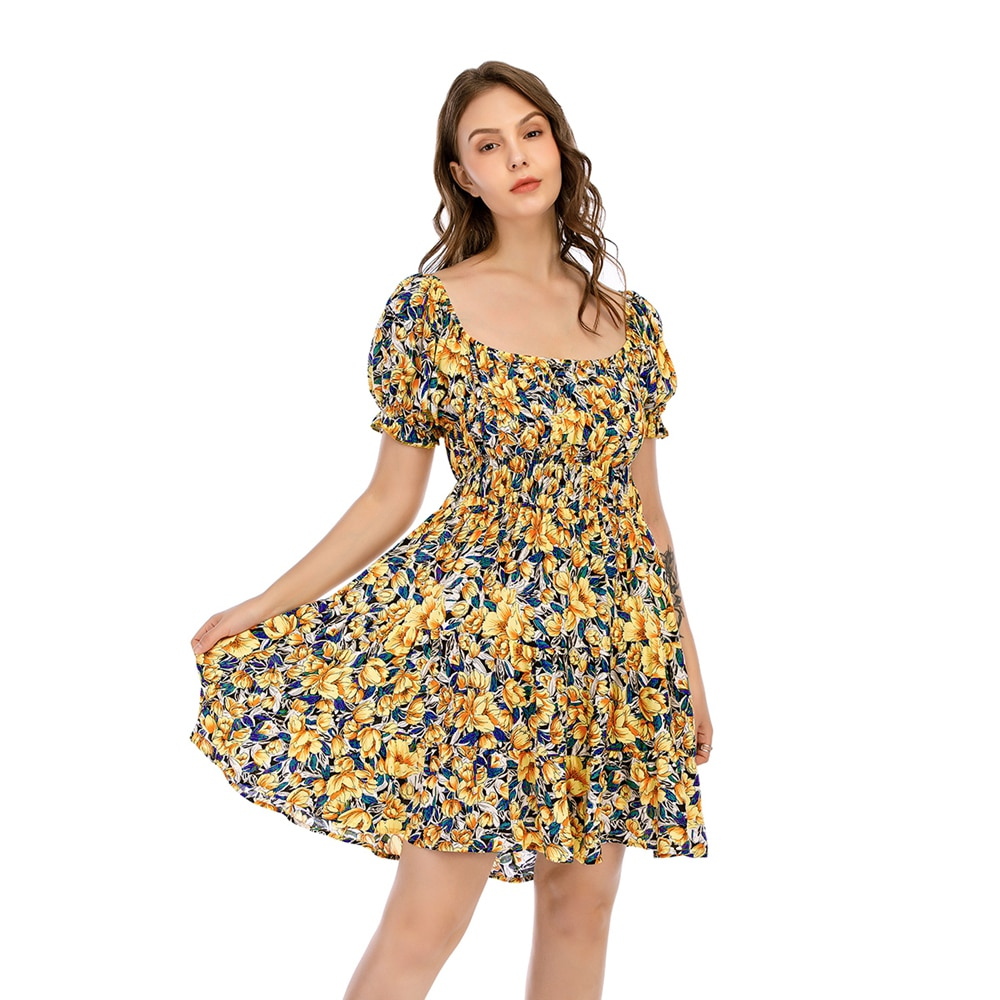 CGYY Sexy Summer Ruched Dress 2021 Ladies Square Neck Floral Beach Sarongs Women Boho Ruffle Sleeve Knitted Vestido